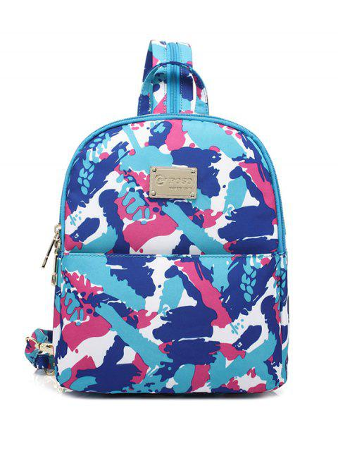 unique Printed Zippers Nylon Backpack - AZURE  Mobile