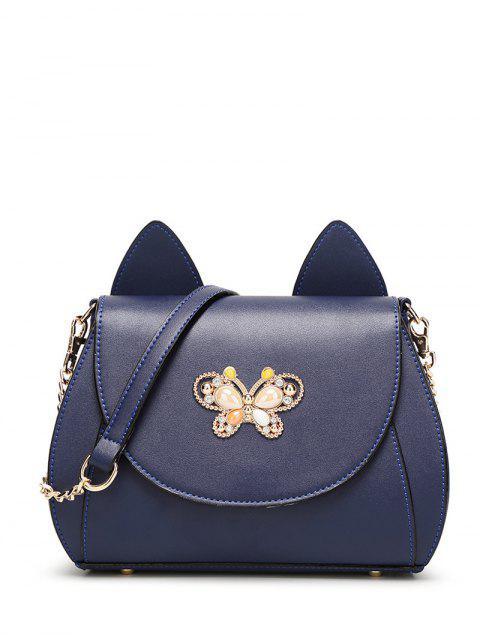 chic Cat Ear Rhinestone Butterfly Crossbody Bag - DEEP BLUE  Mobile
