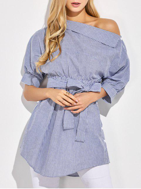 new Striped Casual One-Shoulder Blouse - BLUE S Mobile