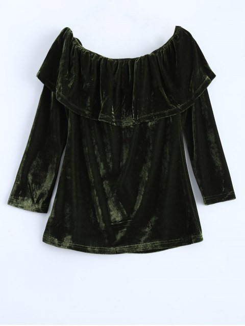 women Velvet Off Shoulder Ruffles T-Shirt - GREEN L Mobile