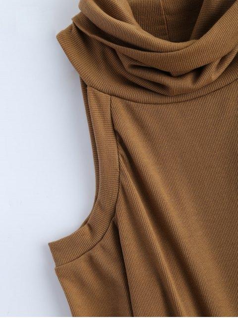 latest Cold Shoulder Turtle Neck Knitwear - KHAKI L Mobile