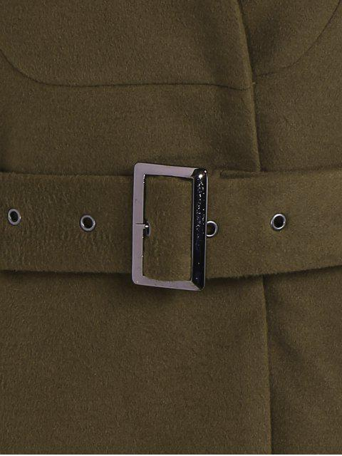 new Belted High Neck Skater Coat - ARMY GREEN S Mobile