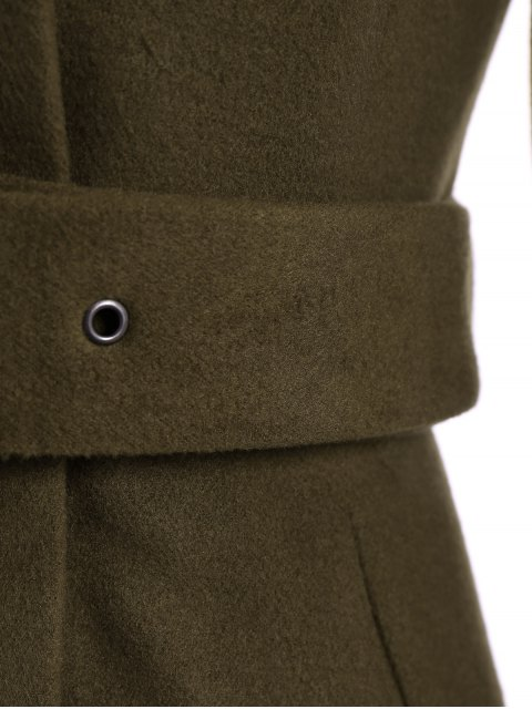 ladies Belted High Neck Skater Coat - ARMY GREEN 2XL Mobile