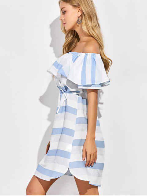 outfits Ruffles Off The Shoulder Striped Dress - BLUE AND WHITE M Mobile