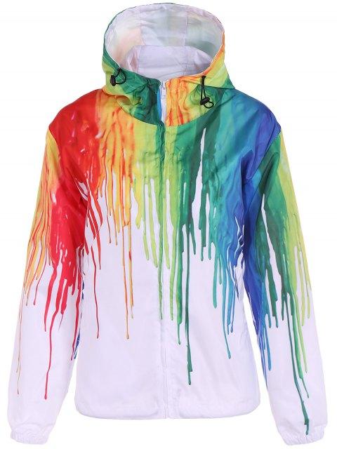 fancy Splatter Paint Windbreaker Jacket - WHITE XL Mobile