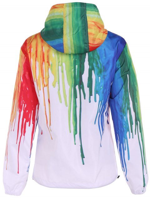 sale Splatter Paint Windbreaker Jacket - WHITE M Mobile