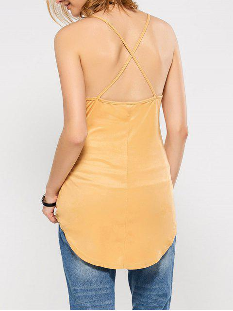 fancy Suede Criss Back Slip Top - YELLOW S Mobile
