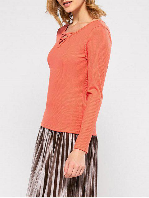 buy Ribbed Long Sleeve Lace Up Tee - JACINTH S Mobile