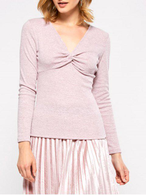 lady Long Sleeves Twisted T-Shirt - GRAY S Mobile