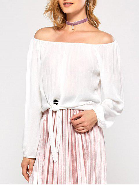 fancy Off The Shoulder Front Knot Blouse - WHITE S Mobile