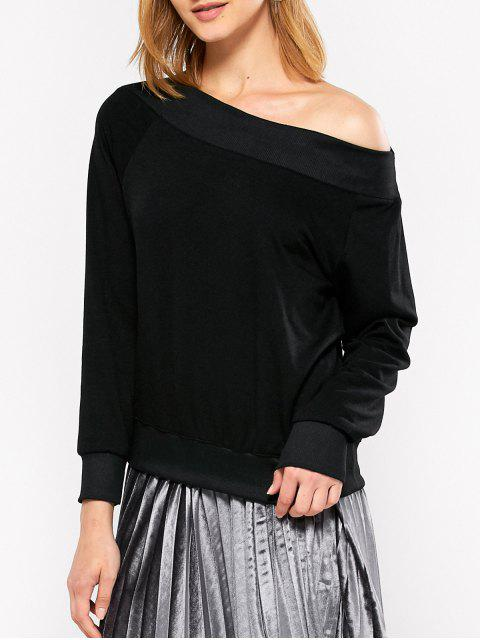 chic Casual One-Shoulder Sweatshirt - BLACK L Mobile