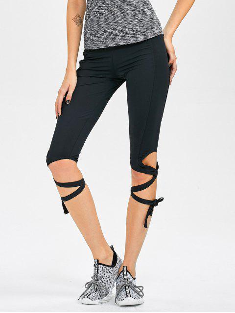 outfits Cut Out Bandage Cropped Yoga Leggings - BLACK L Mobile