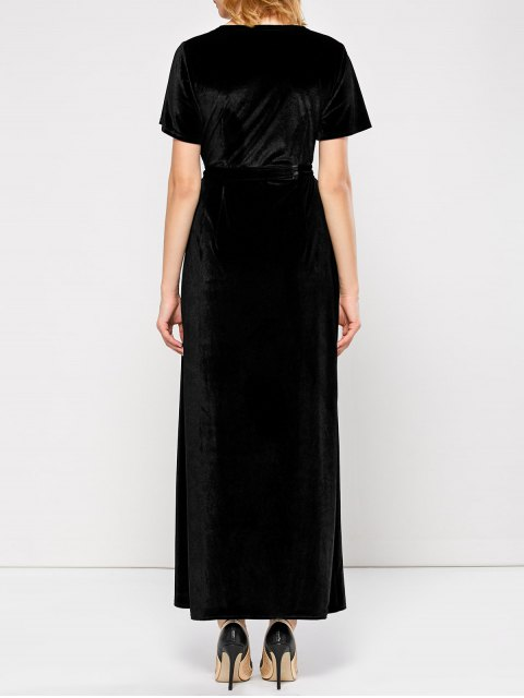 affordable Velvet Wrap Asymmetric Short Sleeve Maxi Dress - BLACK M Mobile