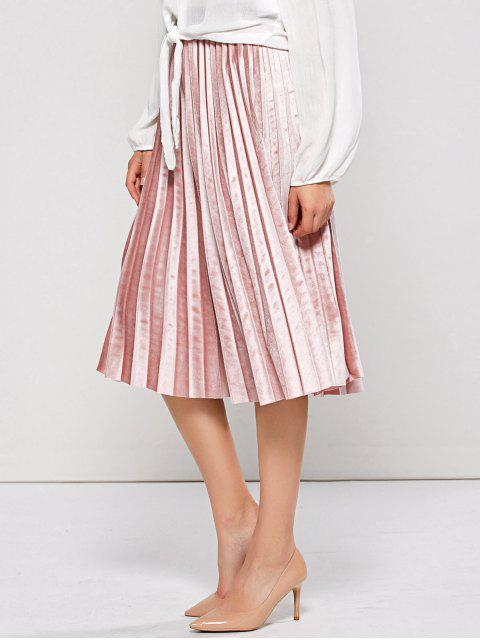 buy Accordion Pleat Velvet Skirt - PINK ONE SIZE Mobile