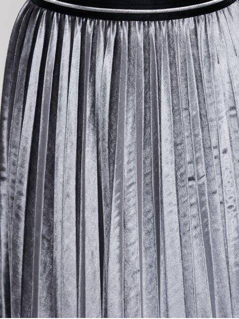 womens Accordion Pleat Velvet Skirt - GRAY ONE SIZE Mobile