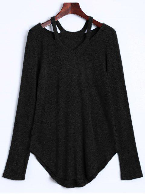outfit Cut Out Pullover Sweater - BLACK S Mobile