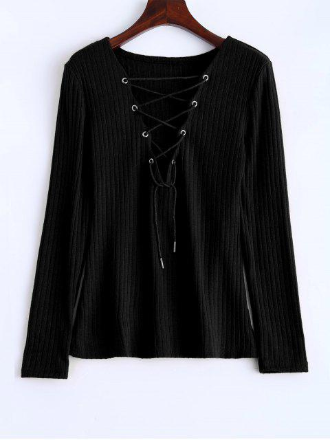 womens Ribbed Knit Lace Up Jumper - BLACK L Mobile