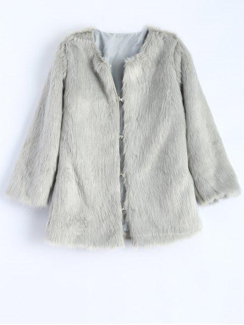 trendy Round Neck Faux Fur Coat - GRAY S Mobile