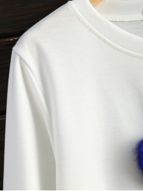 lady Icecream Cone Pom Pom Sweatshirt - WHITE S Mobile