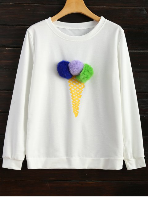 ladies Icecream Cone Pom Pom Sweatshirt - WHITE M Mobile