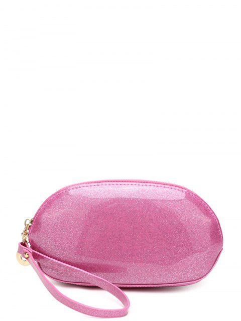 shop Glitter Zip Around Patent Leather Wristlet - PINK  Mobile