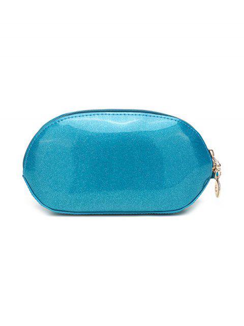 shops Glitter Zip Around Patent Leather Wristlet - BLACK  Mobile