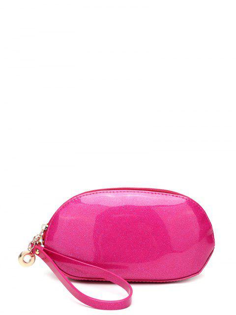 Glitter Zip Around Wristlet en cuir verni - rose  Mobile