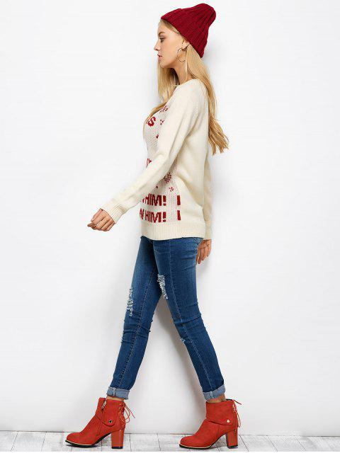 best Letter Crew Neck Christmas Pullover Sweater - PALOMINO 2XL Mobile