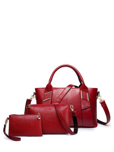 fancy Textured PU Leather Handbag Set -   Mobile