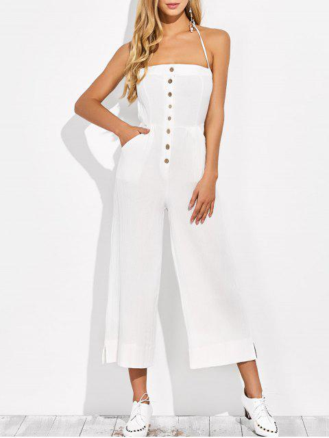 fashion Backless Wide Leg Jumpsuit - WHITE XL Mobile