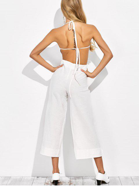 trendy Backless Wide Leg Jumpsuit - WHITE 2XL Mobile