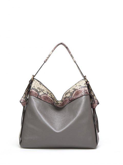 womens Snake Print Panel Shoulder Bag -   Mobile