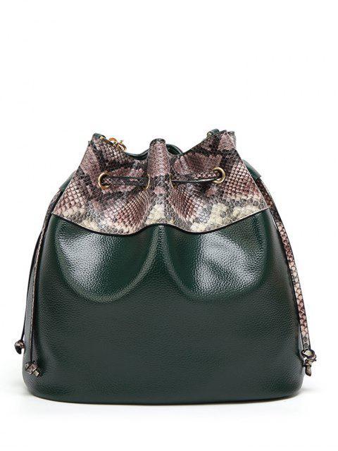 women's Snake Print Panel Bucket Bag - BLACKISH GREEN  Mobile
