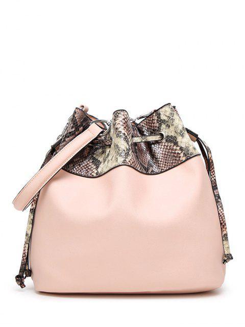 ladies Snake Print Panel Bucket Bag - PINKBEIGE  Mobile