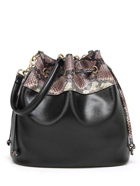 best Snake Print Panel Bucket Bag - BLACK  Mobile