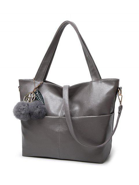 latest Pompons PU Leather Shouder Bag - BLUE  Mobile