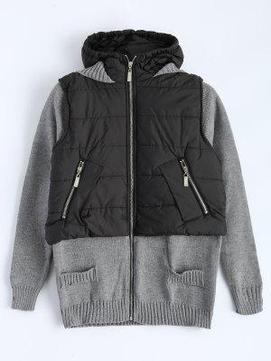 Contrast Knit Quilted Jacket - Black And Grey S
