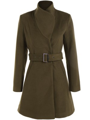 Belted High Neck Skater Coat - Army Green S