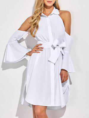Cold Shoulder Vestido De La Camisa Acampanada Puños - Blanco Xl