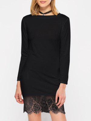 Lace Spliced Slash Neck Dress - Black S