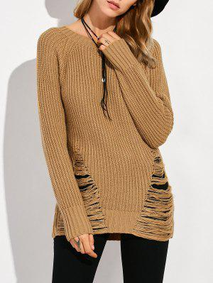 Ripped Chunky Crew Neck Sweater - Brown 2xl