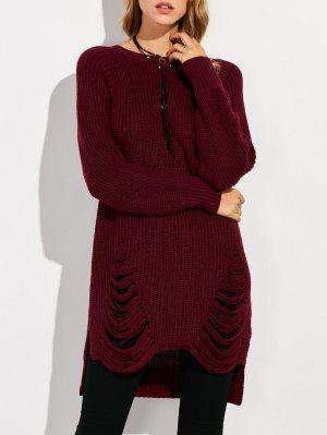 Crew Neck Ripped Chunky High Low Sweater - Wine Red 2xl