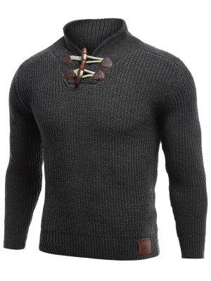 Flat Knitted Pullover Toggle Sweater
