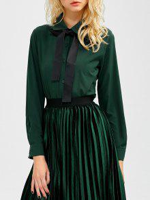 Novio Camisa De Manga Larga Del Bowknot - Verde Negruzco M