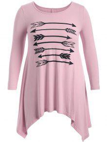 Arrow Pattern Irregular Hem Tee - Pink Xl