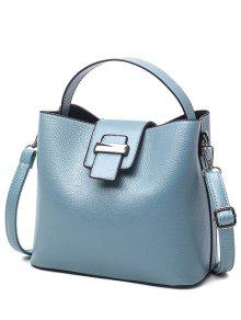 Buy Magnetic Closure Textured Leather Metallic Tote Bag - LIGHT BLUE