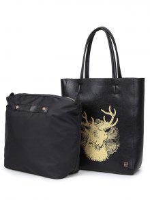 Deer Printed Colour Block Snaps Shoulder Bag - Black