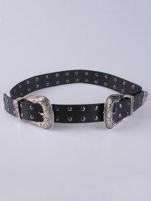 Rivet Double Buckle Belt - Black