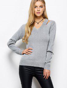 Zipper V Neck Sweater - Gray M
