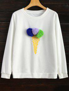 Icecream Cone Pom Pom Sweatshirt - White M